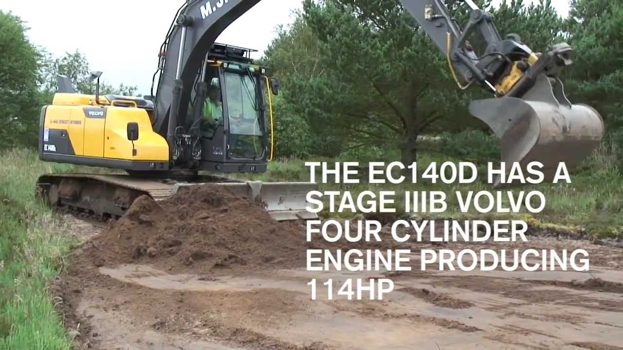 VOLVO EC140D EXCAVATOR WITH DOZER BLADE - THE NEW D-SERIES DIGGER - YouTube