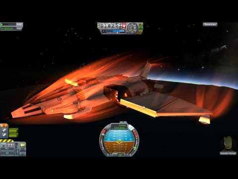Kerbal Space Program v0.19 reentry effects on a fast jet