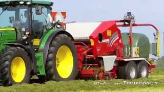 Grass silage baling and wrapping - 2x John Deere 6150R + JD 578 & Lely Welger RP 235 Profi