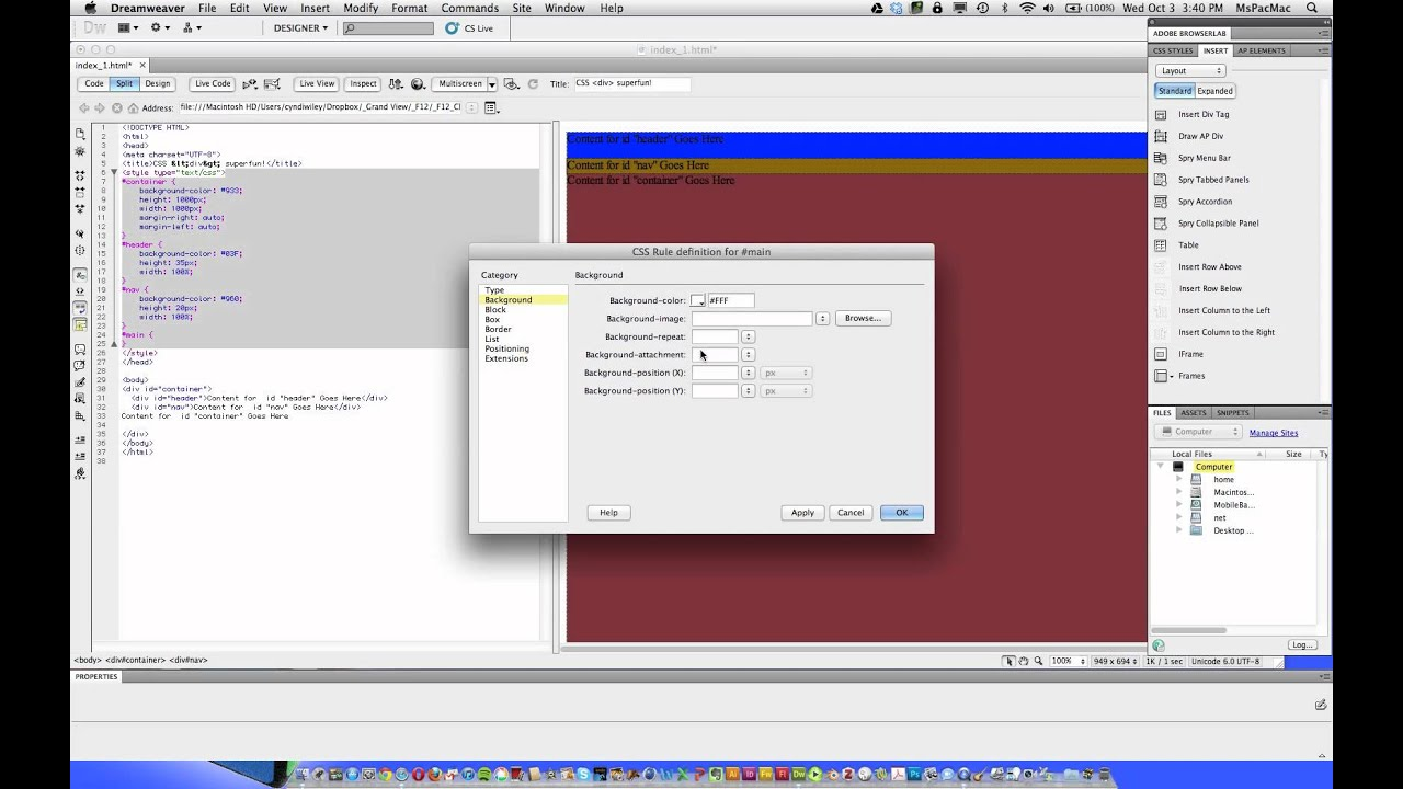 Dreamweaver cs5 5 tutorial css layout with div tags youtube - Div tag css ...
