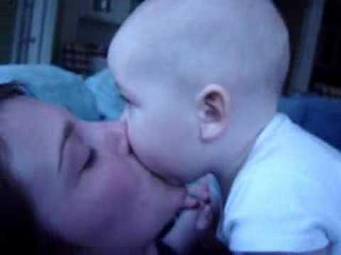 Jordan kissing Mom