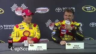 NASCAR at Richmond International Raceway Apr. 2013: Joey Logano, Clint Bowyer Post Race
