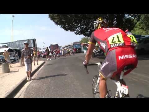 Lance Armstrong collision with spectator 2010 Tour de France Video