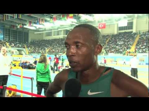 Augustine Choge silver medal in 3k at Istanbul World Indoors 2012