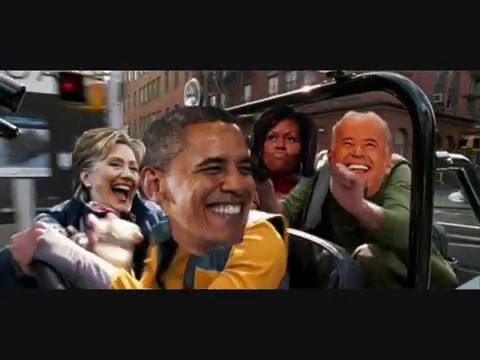 Obama driving car  jamming and laughing with Hilary  Michelle and Joe 