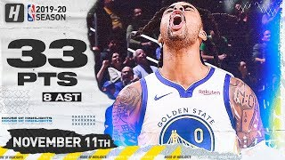 D'Angelo Russell Full Highlights Warriors vs Jazz (2019.11.11) - 33 Points, 8 Ast!