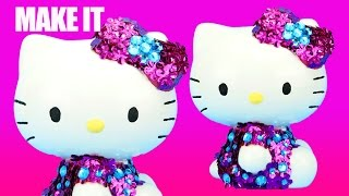 HELLO KITTY GLAMOUR STYLE Money Box Decorate Your Own Doll Dress Craft How to toys videos