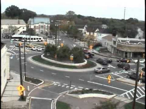 Traffic operations at the Rhode Island Avenue/34th Street/Perry Street roundabout in Mount Rainier Maryland during the weekday afternoon commuter rush hour. ...