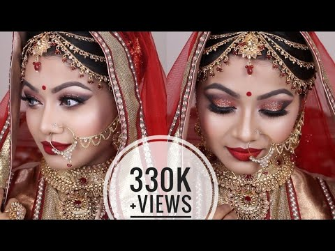 Red Asian Bridal Makeup Tutorial 2017 - Gorgeous Glittery Eyes with Red Lips- Indian Wedding Makeup thumbnail