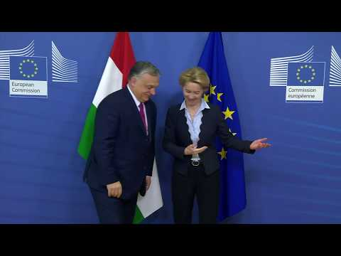 Ursula von der Leyen welcomes Viktor Orbán in European Commission in Brussels