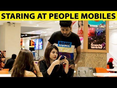 Staring at Strangers Mobiles in Malls Prank - Lahori PrankStar
