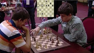 AMAZING TRAP KNIGHT!!! MAGNUS CARLSEN VS SERGEY KARJAKIN || BLITZ CHESS 2012
