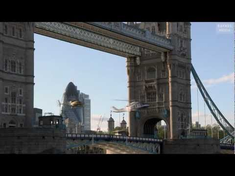 London 2012 Olympics helicopters fly through Tower Bridge