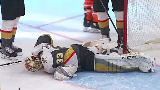Golden Knights' Lagace in some discomfort after allowing fifth goal of the game