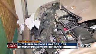 Truck crashes into east Las Vegas garage, damaging resident's car