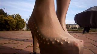 Pantyhose over heels