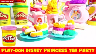 Play-Doh Disney Princess Tea Party Baking Desserts and Sweets and Frozen Ice Cream Preparation