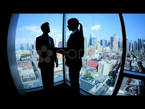 Caucasian Business Partners Handshaking Closing Contract Online On Tablet. Stock Footage