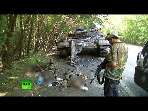 GRAPHIC: Ukraine tank smashed, crew killed by rebels in Donetsk outskirts