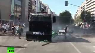 Turkish Protester Hit By Police Panzer (TOMA)