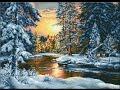 """Вышивка крестом. Гобелен """"Зимний пейзаж"""" от Luca-S."""