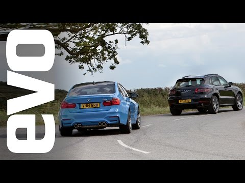 A Porsche Macan Turbo Drag Racing a BMW M3