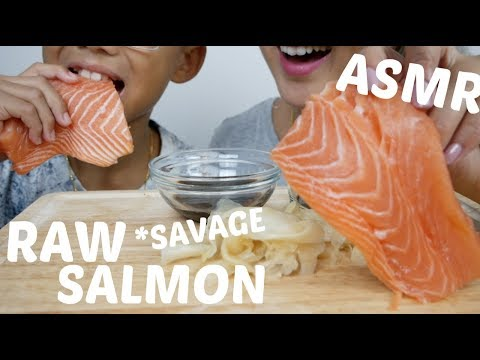 RAW WHOLE SALMON Sashimi | ASMR *NO Talking Savage Eating Sound | N.E Let's Eat