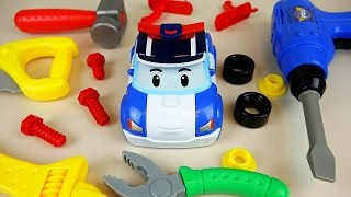Robocar Poli and TOBOT tool and car toys garage play