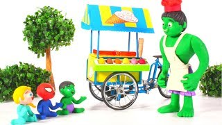 HULK ICE CREAM PARLOR  ❤ Spiderman, Hulk & Frozen Play Doh Cartoons For Kids
