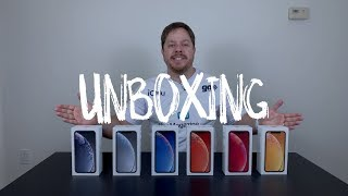 Unboxing do iPhone XR - todas as cores!