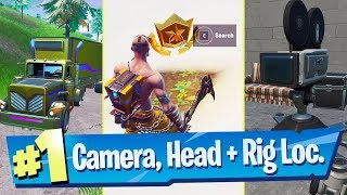 Search between a Basement Film Camera, a Snowy Stone Head and a Flashy Gold Big Rig - Fortnite