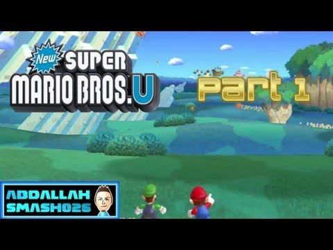 "Let's Play New Super Mario Bros U for WiiU - Part 1: Intro + W1-1 ""Acorn Plains Way"" 100% with Abdallah"