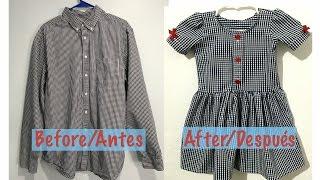 Camisa de Hombre a Vestidito de Niña/Men's Shirt into a Little Dress