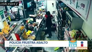 Policía frustra asalto en Oxxo en Tlalpan   Noticias con Francisco Zea