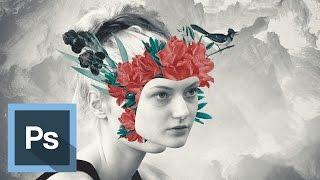 Tutorial Photoshop - Efecto Retrato Floral Surrealista