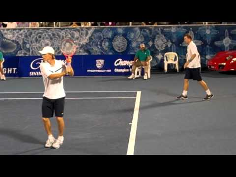 Clip of a few points from their first round meeting in Delray Beach, 2011. Fisher/Huss won 6-3, 4-6, 10-7.