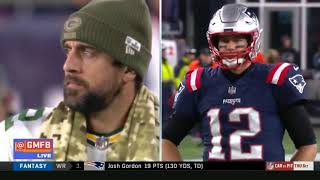 NFL GMFB highlights from New England Patriot's Brady beating Green Bay Packers Rogers