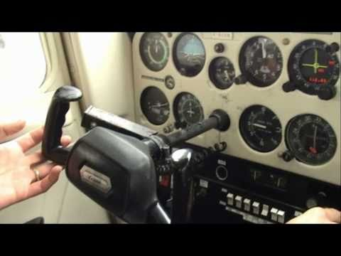 Cessna 152 cockpit: flight training - approach, landing, shut-down