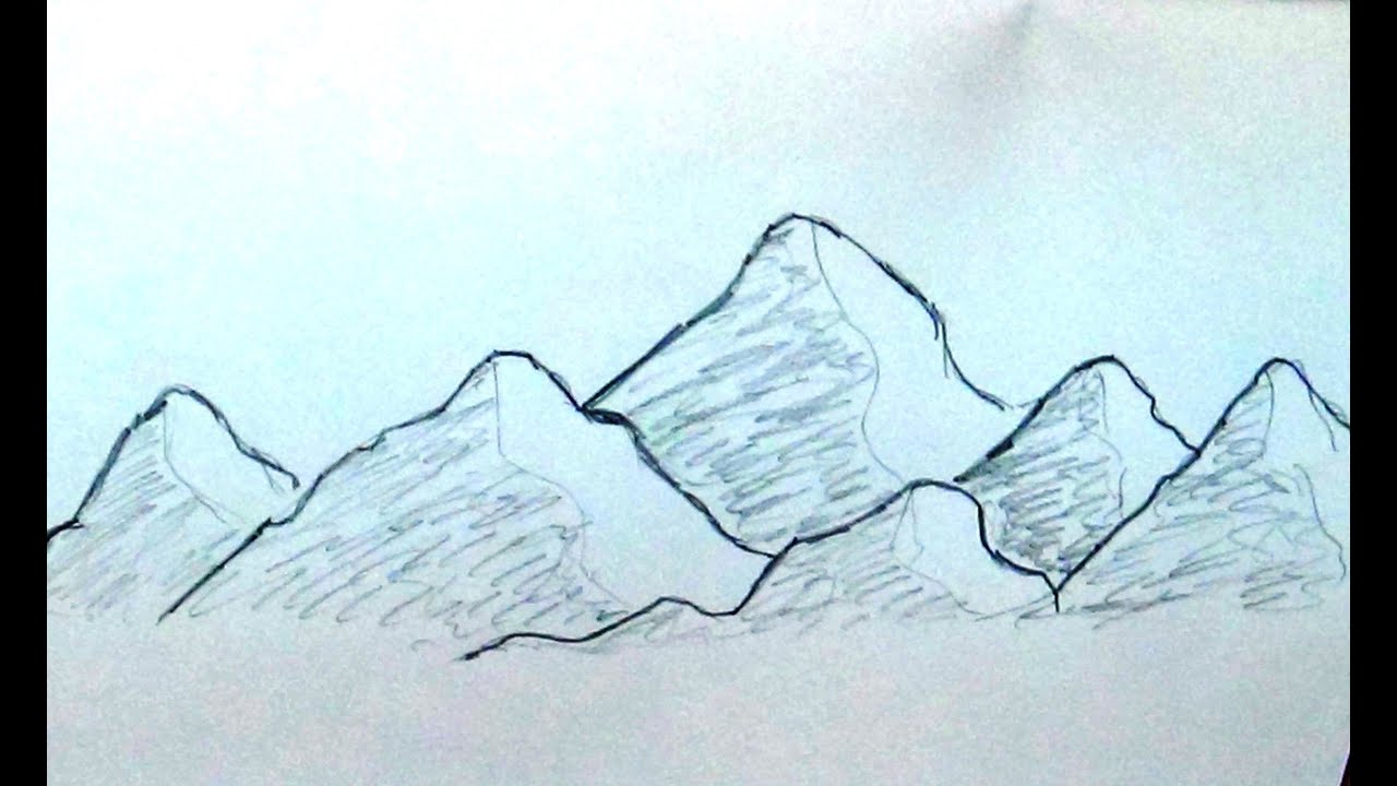 how to sketch mountain range very easy and quick
