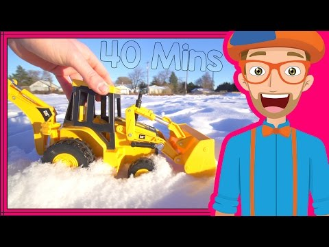 Educational Videos for Toddlers with Blippi   Backhoes and Colors!