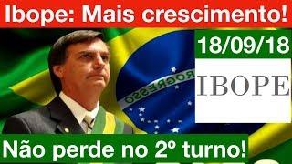 Nova Pesquisa Ibope: Bolsonaro cresce mais e não perde no 2º Turno! Haddad dispara!