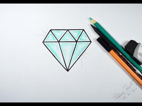 Como desenhar Diamante muito fácil- passo a passo