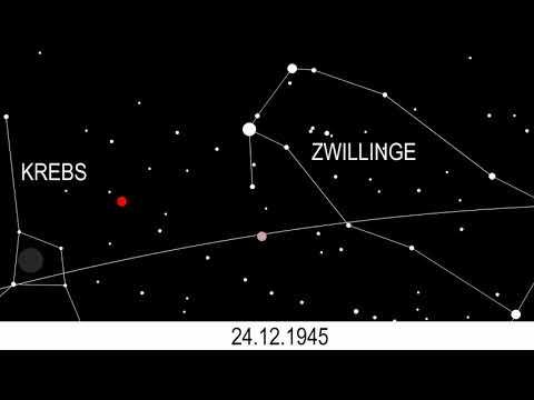 Computersimulation der dreifachen Konjunktion zwischen Mars und Saturn 1945/46