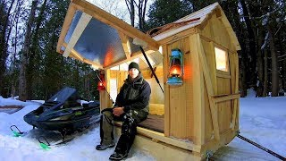Cozy Snowmobile Camper / Sled Shelter / Ice Hut / Log Cabin Update- Ep 11.4