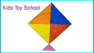 How to Draw a Kite. #Kids Toy School