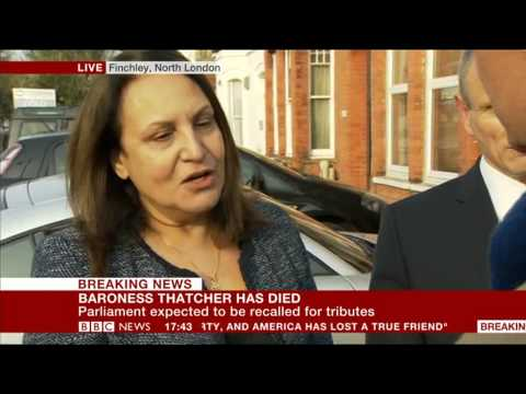 Reaction to the sad news of Lady Thatcher's passing on 8 April 2013 via BBC News 24 by Tribute to Margaret Thatcher by Mike Freer MP and Marina Yannakoudakis...