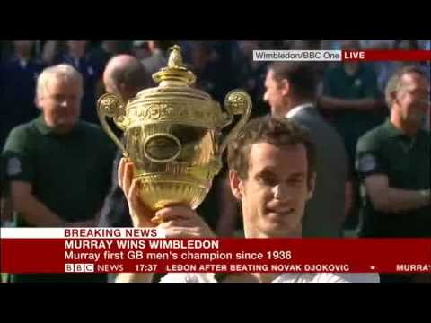 Andy Murray Wins Wimbledon Live on BBC NEWS, Inc Winning match