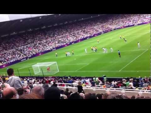 Brazil v Honduras, Olympic Quarter final 2012.Neymar scores penalty for Brazil at St.James' park. Ol