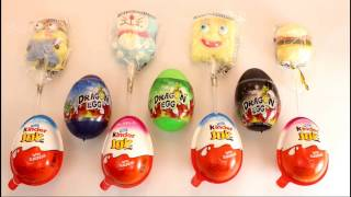 Kinder Joy And other toy candies and lollipop figures , minion,spongebob,doremon,burger