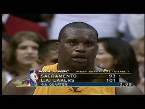 Shaquille O'Neal Highlights vs Sacramento Kings 2001 WCSF GM1 - 44 Pts, 21 Rebs, 7 Blks